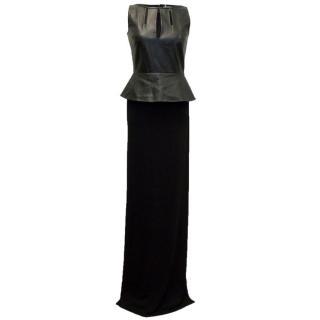 Osman Black Maxi Dress With Leather Peplum Top