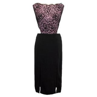 Osman Pink and Black Lace Dress