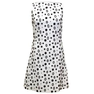 Osman White A-Line Dress With Black Beading