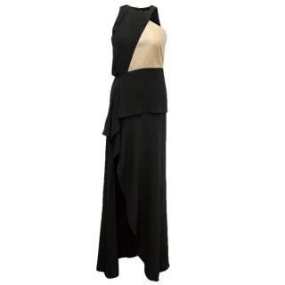 Osman Black Long Gown With Gold Leather And Thigh High Slit
