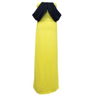 Osman Yellow And Navy Off Shoulder Maxi Dress