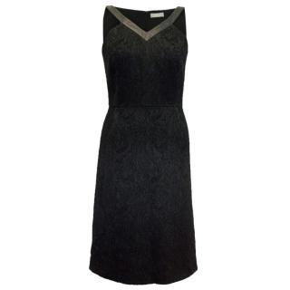 Osman Black Textured  Dress With Leather Trim