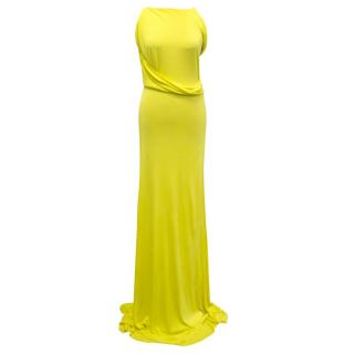 Osman Yellow High Neck Maxi Dress