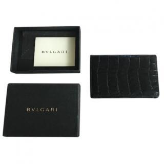 Bvlgari shiny black genuine crocodile card holder wallet