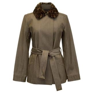Louis Vuitton Brown Wool and Denim Blend Jacket with Fur Collar