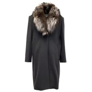 Votre Nom Grey Long Coat With Brown And White Fox Fur