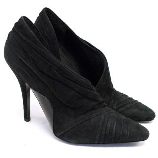 Alexander Wang Black Suede And Patent Cut-out Booties