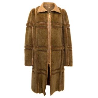 Gucci Brown Mink Long Coat With Crocodile Leather