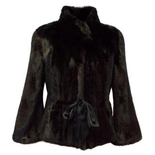 Milady Black Mink Fur Coat With Silk Belt