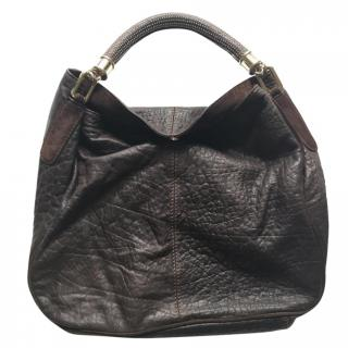 Uterque brown grained leather tote shopper bag with studded handle