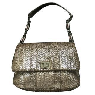 Anya Hindmarch Gracie Fringed Metallic Shoulder Bag in Palma Grey