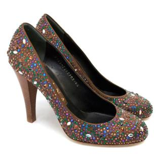 Gina Brown Diamante Encrusted Pumps With Wood Effect Heels
