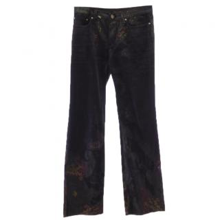 Roberto Cavalli jeans with gold and red glitter print
