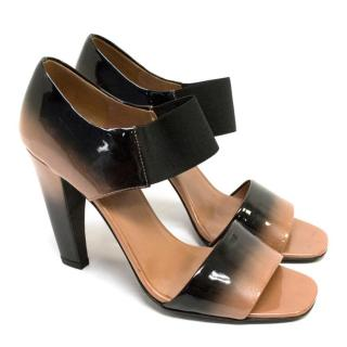 Prada Ombre Black Patent Heeled Sandals With Elasticated Strap