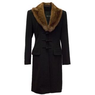 Rena Lange Long Black Wool Coat