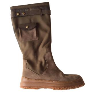 Hogan khaki suede and nylon pocketed boots fake fur lining