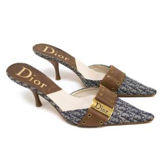 Dior Blue Canvas Monogram Mules With Brown Leather Strap