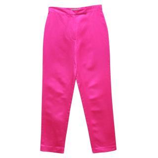Osman Fuchsia Pink Silk Slim Cigarette Trousers