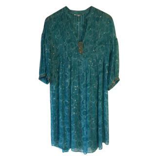 Rebecca Taylor 100% silk turquoise & metallic gold kaftan dress