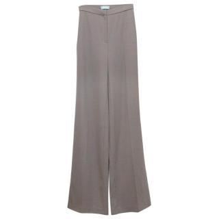 Osman Grey Brown Long Wide Leg Trousers