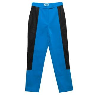 Osman Blue Skinny Trousers With Leather Side Panels