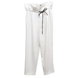 Osman Cream Straight Leg Trousers With Pleated Waist