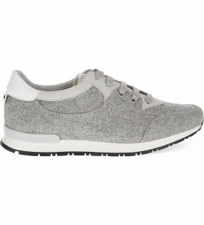 Claudie Pierlot Alive Grey Wool Suede Trim Trainers Sneakers