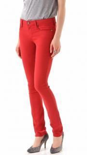 Helmut Lang Ember Red Skinny Jeans
