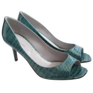 Sergio Rossi Turquoise Croc Patent Peep Court Heels Shoes