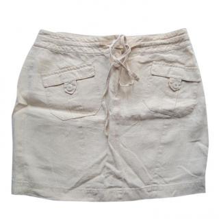 Escada Metallic Linen Cream Skirt