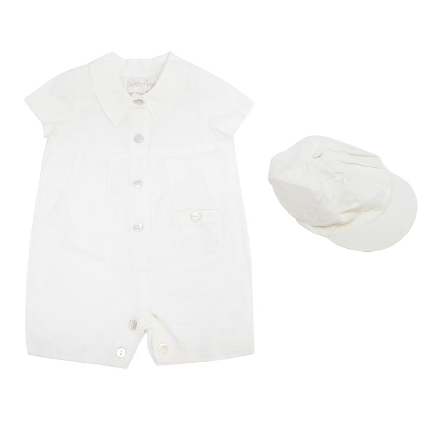 Heritage 'Cain' Off-White Romper With Mother of Pearl Buttons