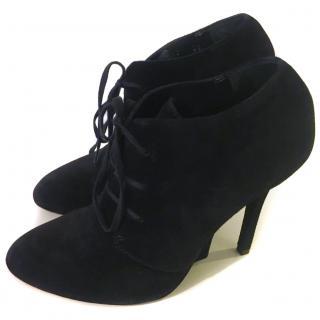 YSL Yves Saint Laurent Black Suede Oxfords Ankle Boots