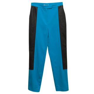 Osman Blue Silk Trousers With Leather Side Panels