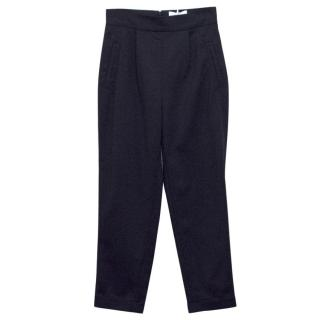 Osman Navy High-Waisted Cropped Cigarette Trousers