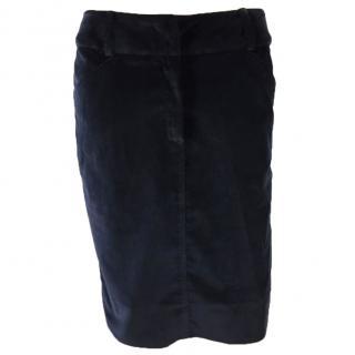Yves Saint Laurent Velvet Skirt Navy