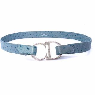 CHRISTIAN DIOR Light Blue Ostrich Leather Belt with CD Jeweled