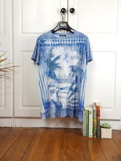Balmain Men's Print Detailed T-shirt Distressed Style