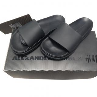 Alexander Wang leather black slides