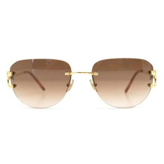 Cartier Rimless Sunglasses With Gold Hardware