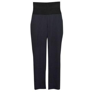 Osman Blue Pinstripe Slim Leg Trousers With Statement Highwaist