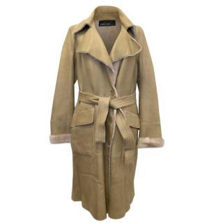 Marc Cain Beige Fur Lined Lambskin Coat