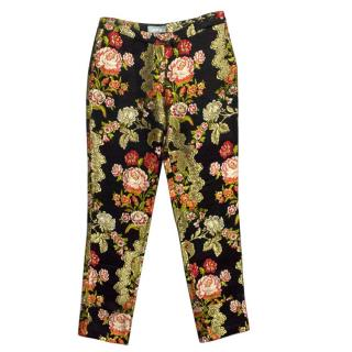 Osman Black and Gold Floral Print Trousers
