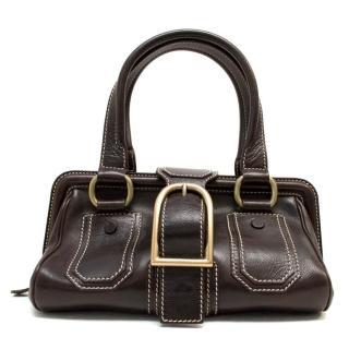 Celine Brown Handbag With Large Buckle