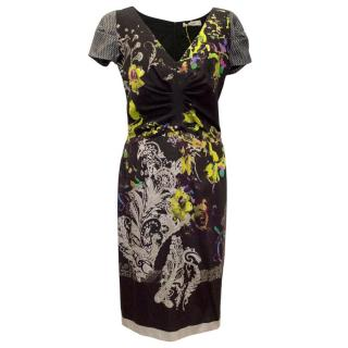 Etro Black Printed Capped Sleeve Dress
