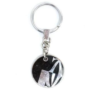 Cartier Stainless Steel Keyring With Black Logo