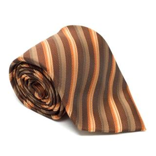 Christian Dior Brown Metallic Striped Tie