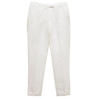 Osman Cream Textured Cigarette Trousers With Turn-up