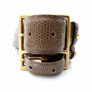 MaxMara Wide / Large Double Buckle Python Print Brown Leather Belt