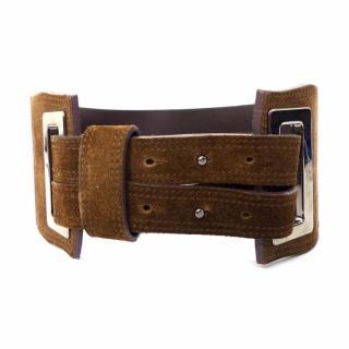 MaxMara brown suede crocodile print leather wide / large belt