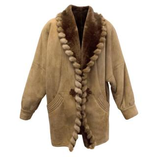 Bruno Magli Tan Suede Coat With Fur Trimming